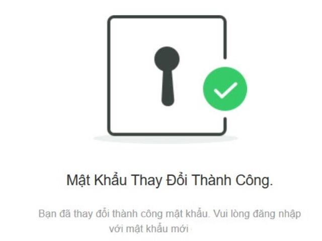 Hộp thoại thông báo thay đổi mật khẩu thành công