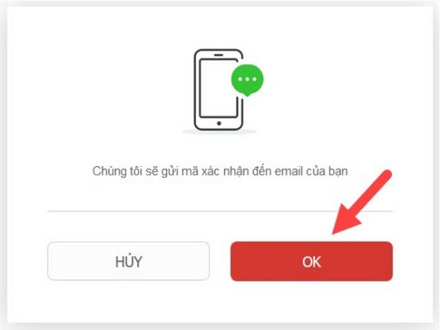 Hộp thoại yêu cầu xác nhận địa chỉ Email