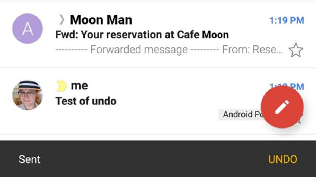 Recall Gmail trên điện thoại di động