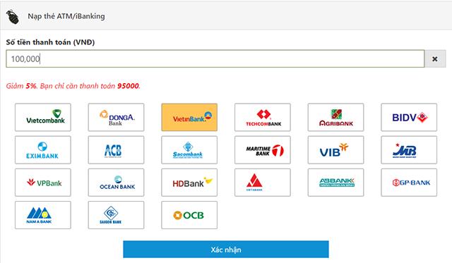 Chọn ngân hàng hỗ trợ thanh toán thẻ CF Mobile