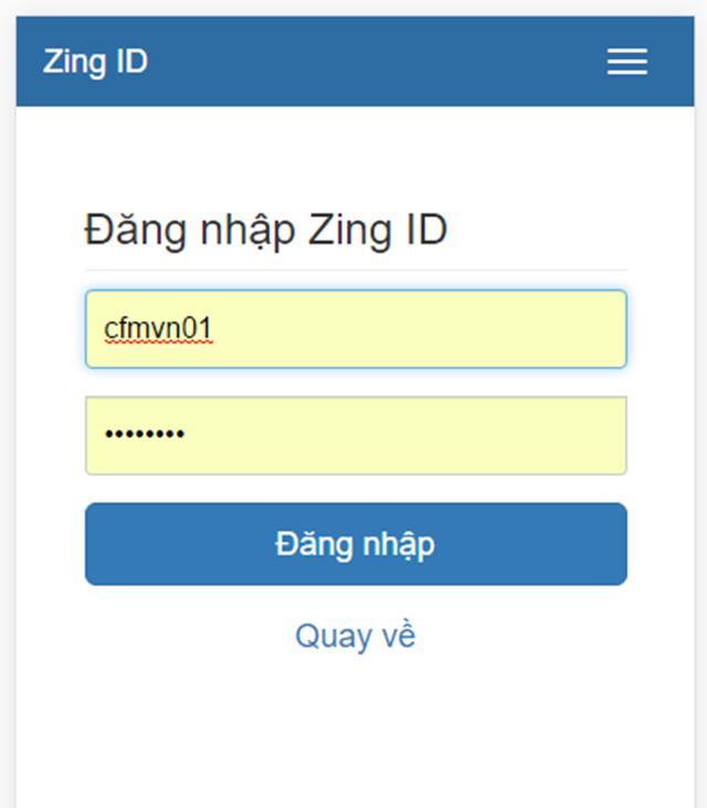 Điền tài khoản và mật khẩu đăng nhập