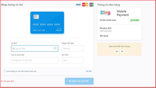 Điền thông tin yêu cầu của hệ thống nếu nạp thẻ CF mobile qua thẻ Visa